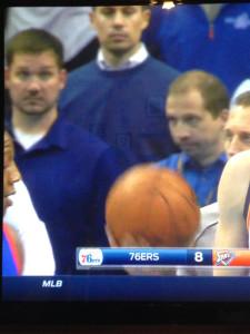 Kris Austin and Aaron Pogue courtside at the Oklahoma City Thunder vs. Philadelphia 76ers