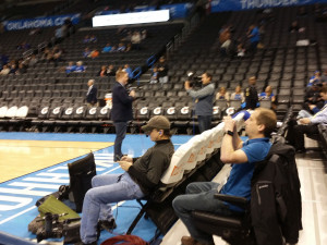 Kris Austin and Aaron Pogue courtside at the Oklahoma City Thunder vs. Philadelphia 76ers